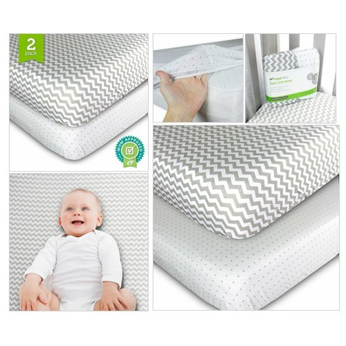 Crib Sheets Set - 2 Pack - Fitted, Soft Jersey Cotton Crib Mattress Sheet - Baby Bedding #socialselling #PromoteStore #PictureVideo @SharePicVideo