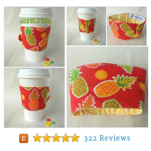 Pineapple #drink sleeve, Tropical coffee #etsy @deegeemariegift  #etsy #PromoteEtsy #PictureVideo @SharePicVideo