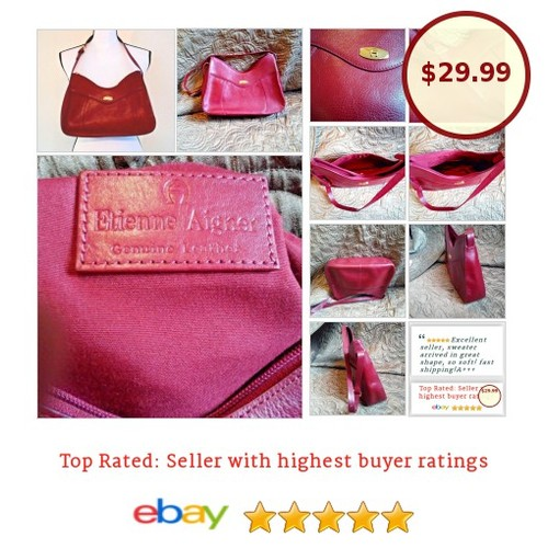 #EtienneAigner #HandBag #Shoulderbag #Leather #Red #Classic #Fashion #bestoffer #Purse #Satchel #redleather #bag #etsy #PromoteEbay #PictureVideo @SharePicVideo