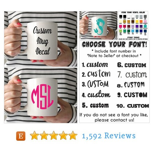 Custom Decal, Custom Mug Decal, Coffee Mug #etsy @stickythingz https://www.SharePicVideo.com/?ref=PostPicVideoToTwitter-stickythingz #etsy #PromoteEtsy #PictureVideo @SharePicVideo