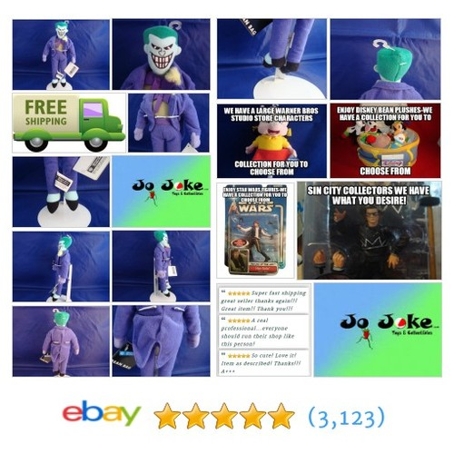 WARNER BROS STUDIO STORE-THE JOKER-10 INCH BEAN PLUSH-NEFARIOUS SMILE-NEW/TAGS- | eBay #WARNERBROSSTUDIOSTORE FREE SHIPPING #etsy #PromoteEbay #PictureVideo @SharePicVideo