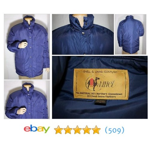 Vintage Camel brand Goose-down Men's Jacket. Sz M Medium Blue #ebay @dollabeezy22  #etsy #PromoteEbay #PictureVideo @SharePicVideo