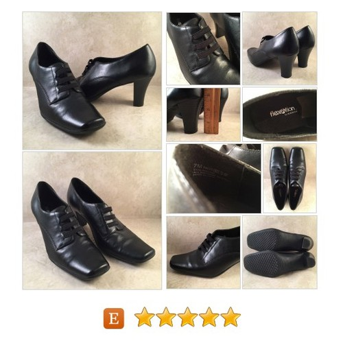 "Vintage FLEXATION Square Toe Granny Shoes Heels 2 3/4"" Stacked Black Colleen Vegan #Shoe #Pump #WomensShoe Size 7 #etsy #PromoteEtsy #PictureVideo @SharePicVideo"