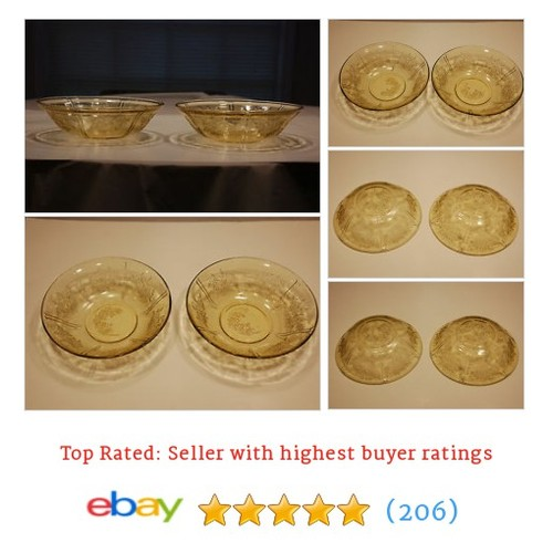 Antique Sharon Cabbage Rose Depression Glass Two (2) Large Amber #ebay @thebertofficial https://www.SharePicVideo.com/?ref=PostPicVideoToTwitter-thebertofficial #etsy #PromoteEbay #PictureVideo @SharePicVideo