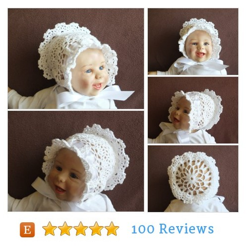 White Baby Bonnet - Victorian baby bonnet - #etsy #PromoteEtsy #PictureVideo @SharePicVideo
