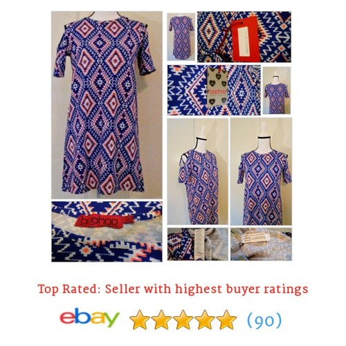 #Boohoo Cold Shoulder #Shift Dress Blue Asia Aztec Print Rare MSRP $150 Size 10 | eBay #Dress #etsy #PromoteEbay #PictureVideo @SharePicVideo