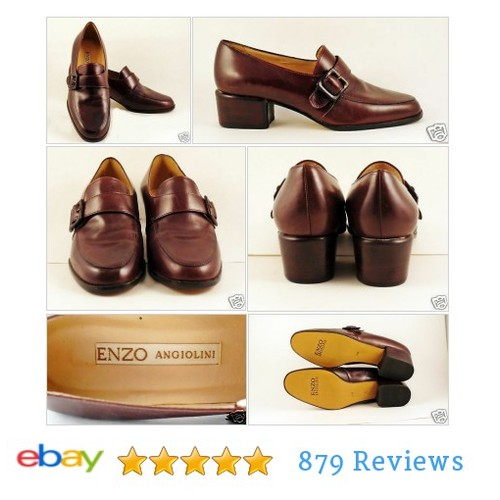 "Enzo Angiolini Brown Leather Slip On Loafers Sz 7 M Buckle 1.5"" Chunk Heels LN #Flat #Loafer #etsy #PromoteEbay #PictureVideo @SharePicVideo"