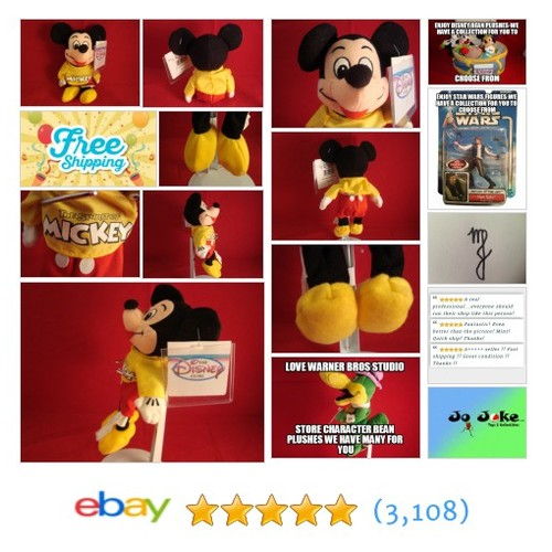"DISNEY-THE SPIRIT OF MICKET MOUSE-ON SHIRT BEAN PLUSH-8""-DISNEY STORE-NEW/TAGS 