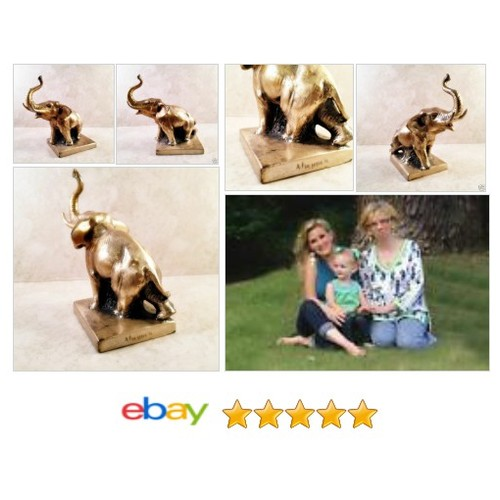 "Vintage Solid Brass ELEPHANT Trunk UP Tusks 6"" Figurine Statue on Base Sculpture 
