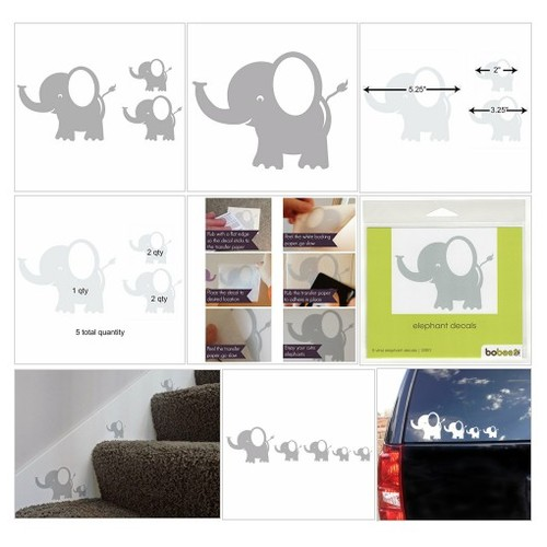 Bobee Baby Elephant Wall Decals, Nursery Decor, Kids Room, Light Grey, 5-pack #socialselling #PromoteStore #PictureVideo @SharePicVideo