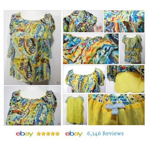 Ruffled #Top Blouse Colorful Summer Short Sleeves Sz S Off Shoulder NY COLLECTION #Blouse #etsy #PromoteEbay #PictureVideo @SharePicVideo