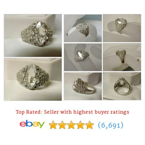 3ct natural diamond quartz 925 sterling silver weave ring size 6 USA #ebay @robynseitz  #etsy #PromoteEbay #PictureVideo @SharePicVideo
