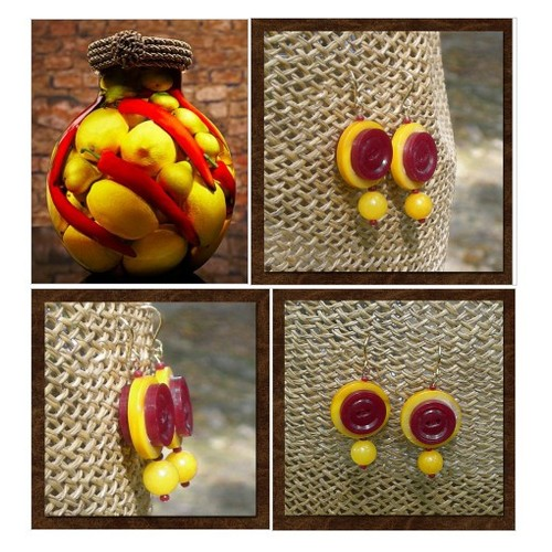 Drop Earrings - Red and Yellow Earrings - Vintage Buttons - Mod Earrings - Vintage Button Earrings - Red and Yellow - R62 #etsyspecialt #integritytt #SpecialTGIF #Specialtoo  #TMTinsta       @Panther_RTs @DevilishRTs @Retweet_Twitch #etsy #PromoteEtsy #PictureVideo @SharePicVideo