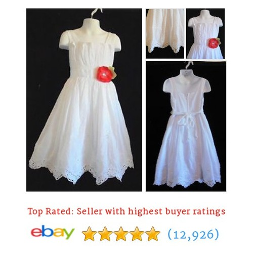 Rare Editions - White Lacy Look Easter/Church Dress w/Scalloped Hem #ebay @marilyncauwood  #etsy #PromoteEbay #PictureVideo @SharePicVideo