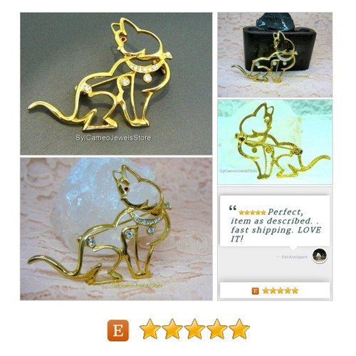 #Cat #Brooch #VintagePin #GoldPlated #Rhinestones #Jewelry #SylCameoJewelsStore #Pin #Clip #etsyspecialt #etsy @EtsyClub  #etsy #PromoteEtsy #PictureVideo @SharePicVideo
