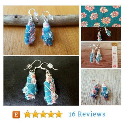 Vintage fabric earrings #Jewelry #Earring @HandmadebyDE  #etsy #PromoteEtsy #PictureVideo @SharePicVideo