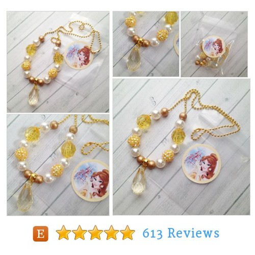 8 Princess Belle Necklace Party Favors #etsy @michelleandco7  #etsy #PromoteEtsy #PictureVideo @SharePicVideo