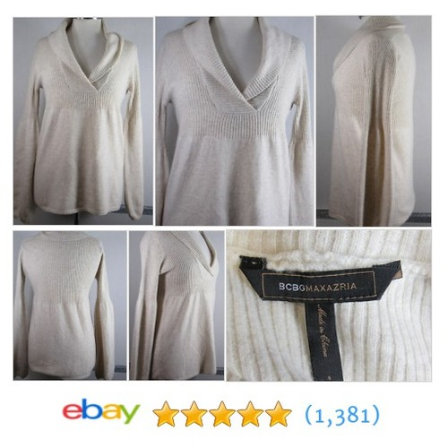 BCBG Max Azria Sweater Small Cashmere Beige Faux Wrap Bell Sleeve #ebay @triciaharley  #etsy #PromoteEbay #PictureVideo @SharePicVideo