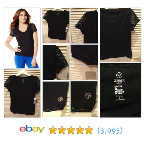 NWT ZUMBA WEAR MESH SLEEVE HIP LENGTH TEE Sew Black SIZE SMALL NEW | #ebay @robstertan  #etsy #PromoteEbay #PictureVideo @SharePicVideo