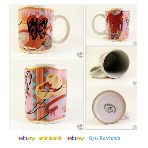 #Mug with #Cowboy Boots Southwestern Art Coffee Cup Otagiri #Western Saddle Hat #Otagiri  #etsy #PromoteEbay #PictureVideo @SharePicVideo