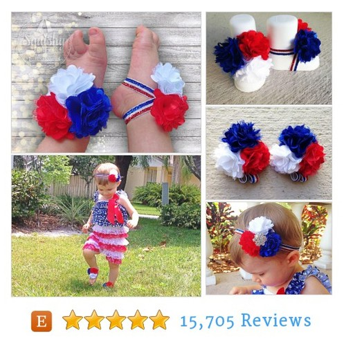 4th of July Sandals, Baby Barefoot Sandals #etsy @wyverndesigns  #etsy #PromoteEtsy #PictureVideo @SharePicVideo