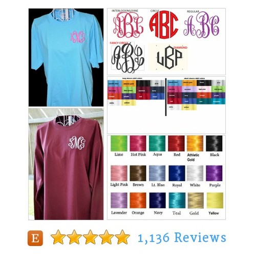 Monogrammed TShirt, Long Sleeve T Shirt, #etsy @chezwhimsy  #etsy #PromoteEtsy #PictureVideo @SharePicVideo