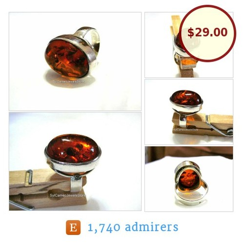 #Amber #Fossil #Ring #DomedOval #StatementRing #CognacColor #SterlingSilver SylCameoJewelsStore #Jewelry #etsyspecialt @etsyRT 10% Off On All Rings Pre-Valentines Sale Jan. 15th to Feb. 14th #etsy #PromoteEtsy #PictureVideo @SharePicVideo