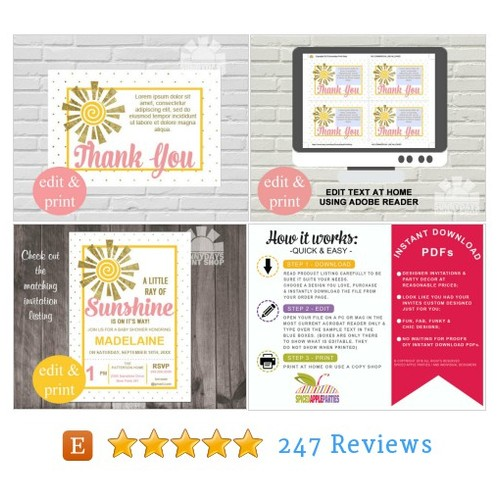 Baby Shower thank you cards, Little Ray of #etsy @spicedapleparty  #etsy #PromoteEtsy #PictureVideo @SharePicVideo
