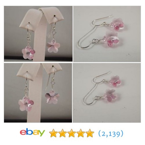 Light Pink Austrian Crystal Flower Earrings Sterling Sundance #ebay @evasmim  #etsy #PromoteEbay #PictureVideo @SharePicVideo