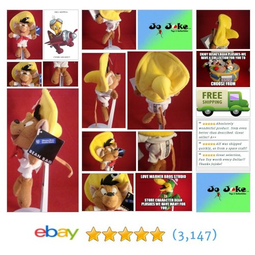 WARNER BROS STUDIO STORES-SPEEDY GONZALES BEAN PLUSH-9 INCH-COOL FIND-NEW/TAGS ! | eBay #WARNERBROSSTUDIOSTORE #etsy #PromoteEbay #PictureVideo @SharePicVideo