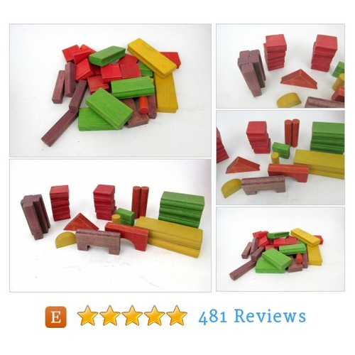 Vintage Wooden Toy Blocks / Colorful Wood #etsy @blacksheepants  #etsy #PromoteEtsy #PictureVideo @SharePicVideo