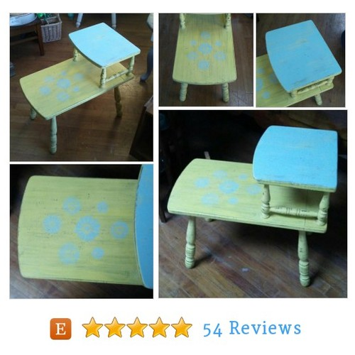 Boho Style End Table Yellow and Blue Night #etsy @frugalfortune https://www.SharePicVideo.com/?ref=PostPicVideoToTwitter-frugalfortune #etsy #PromoteEtsy #PictureVideo @SharePicVideo