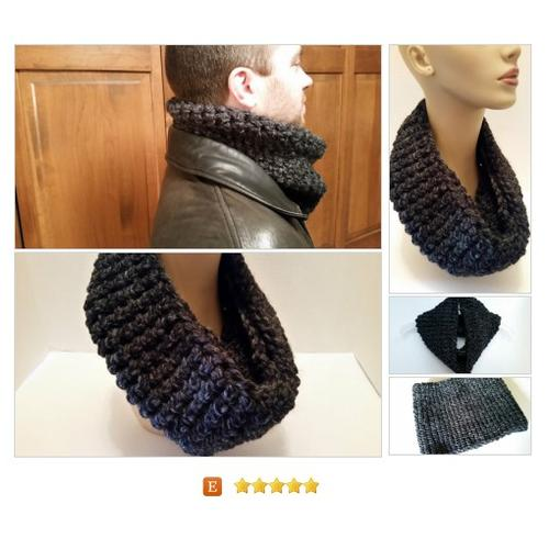 Infinity Cowl Cuddles #Scarf Handmade Crocheted Charcoal #Wrap #Accessory  softtotouch #etsy #PromoteEtsy #PictureVideo @SharePicVideo