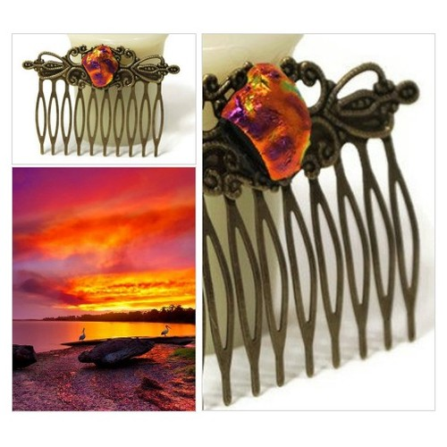 Fused Glass Hair Comb, Hair Accessories, Wedding Hair, Beautiful Hair, Orange Antique Style Bronze Tone Hair Comb, Victorian, Dichroic Glass #etsyspecialt #integritytt #SpecialTGIF #Specialtoo         @Faeshub  @InfamousRTs s  @zimisss #etsy #PromoteEtsy #PictureVideo @SharePicVideo