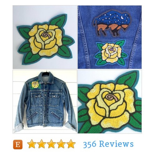 Yellow Rose Embroidered Felt #Patch - Iron on Patch, Handmade #Pin #Accessory #etsy #PromoteEtsy #PictureVideo @SharePicVideo