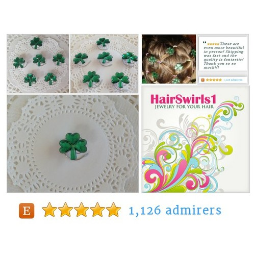 Green Shamrock Hair Swirls Hair Spins Spirals Irish #Wedding Twists or Coils Irish Dancers  Hair Jewels #etsy #PromoteEtsy #PictureVideo @SharePicVideo