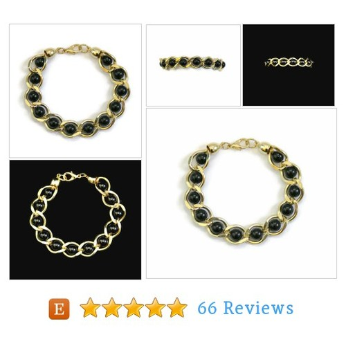 1980's Gold Tone Link Bracelet With Black #etsy @heidi_galati  #etsy #PromoteEtsy #PictureVideo @SharePicVideo