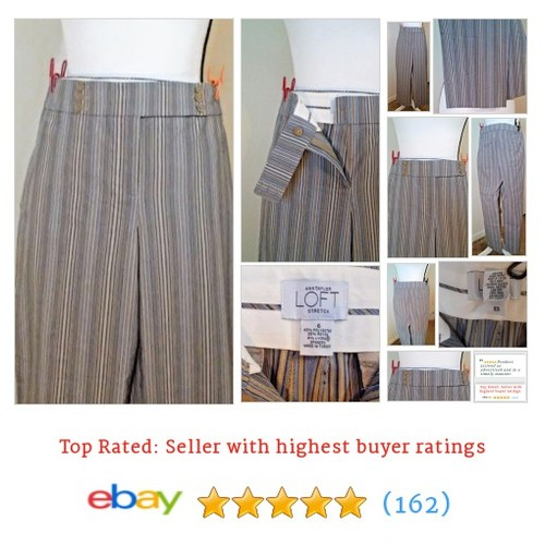 Ann Taylor LOFT Pants Striped Gray Size 6 Inseam 26 Slacks Slim Fit Trousers #Pant #DressPant #AnnTaylorLOFT #etsy #PromoteEbay #PictureVideo @SharePicVideo