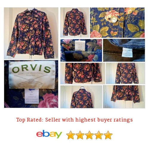 ORVIS Sporting Traditions women's #Jacket Size L Large Rose Denim Foral Jean Date #Orvi #Coat #etsy #PromoteEbay #PictureVideo @SharePicVideo