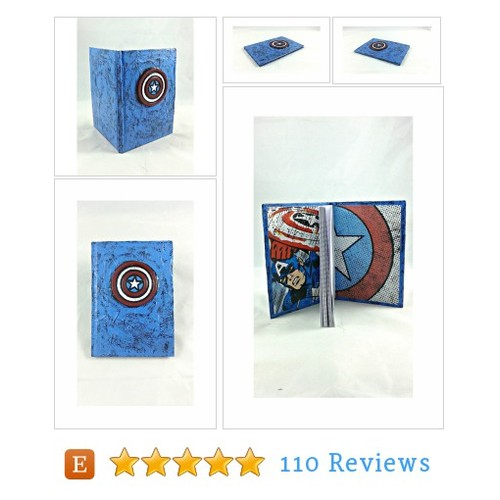 Captain America mixed media blank journal #etsy @lefthandasylum  #etsy #PromoteEtsy #PictureVideo @SharePicVideo