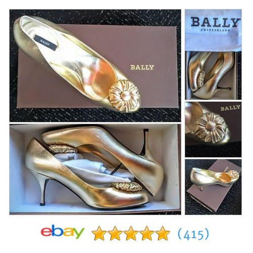 $500 New in Box Designer Made in Italy BALLY Gold Leather Heels Size #ebay @dcstylemaven  #etsy #PromoteEbay #PictureVideo @SharePicVideo