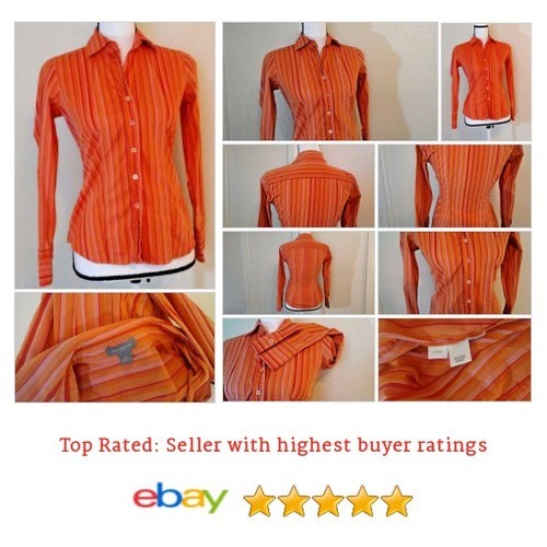 Ann Taylor Women's #Top Size XS Oxford Button Red and Orange Stripes Spring Work #Blouse #AnnTaylor #etsy #PromoteEbay #PictureVideo @SharePicVideo