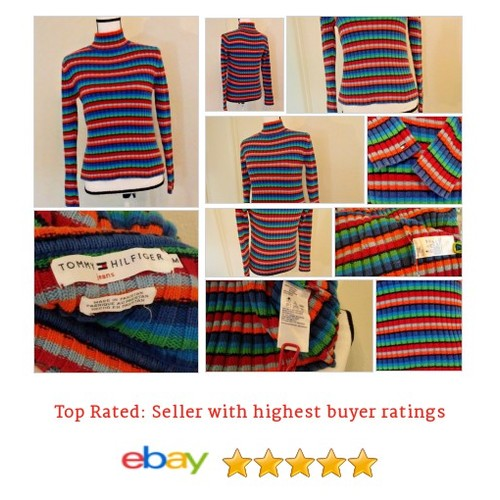 Tommy Hilfiger #Sweater Size M Stripe #Rainbow Bright  #Mock #Turtleneck #etsy #PromoteEbay #PictureVideo @SharePicVideo