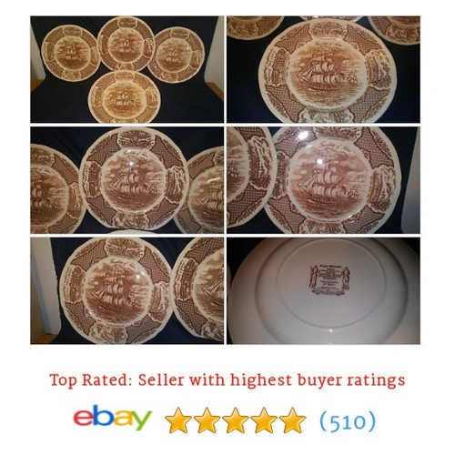 Alfred Meakin FAIR WINDS Set/4 DINNER PLATES Friendship of Salem #ebay @life_benefit  #etsy #PromoteEbay #PictureVideo @SharePicVideo