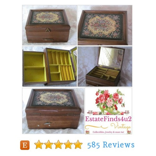 Vintage Wood Tapestry Top Jewelry Box / #etsy @estatefinds4u2  #etsy #PromoteEtsy #PictureVideo @SharePicVideo