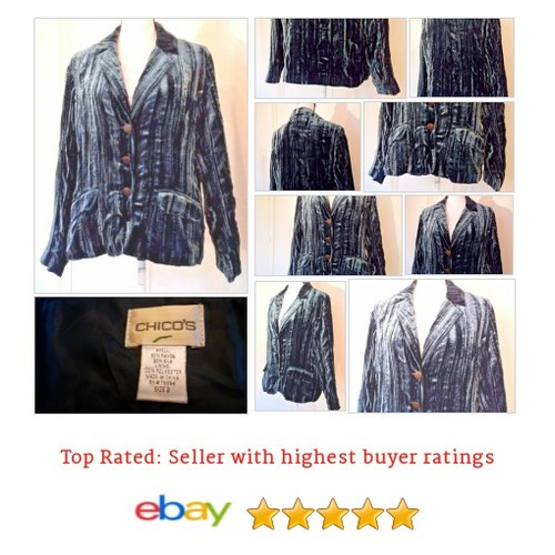 Chico's Women's #Blazer Size 2 L Large Blue Velvet Silk Blend Semi-Formal Evening | eBay #Suit #Chico #etsy #PromoteEbay #PictureVideo @SharePicVideo