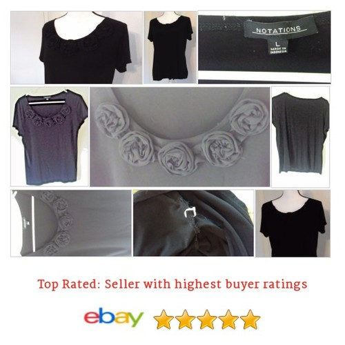 #Notations Women's #Blouse Size #Large Black #Rose #Applique Short Sleeve #Top #Notation #etsy #PromoteEbay #PictureVideo @SharePicVideo