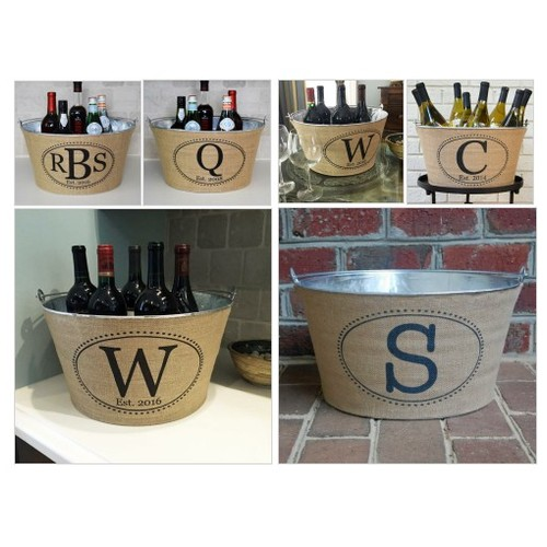 Oval Monogram Burlap Beverage Tub @asouthernbucket  #socialselling #PromoteStore #PictureVideo @SharePicVideo