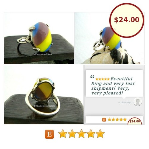 #Ring #SterlingSilver #GlassCabStone #FineJewelry #SylCameoJewelsStore #Jewelry #StatementRing #integritytt #etsyspecialt @etsyclub  #etsy #PromoteEtsy #PictureVideo @SharePicVideo