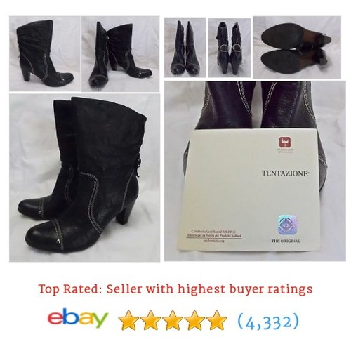 Tentazione Boots Black Italian Leather Stacked Heel Booties size 8 #ebay @caramia112  #etsy #PromoteEbay #PictureVideo @SharePicVideo